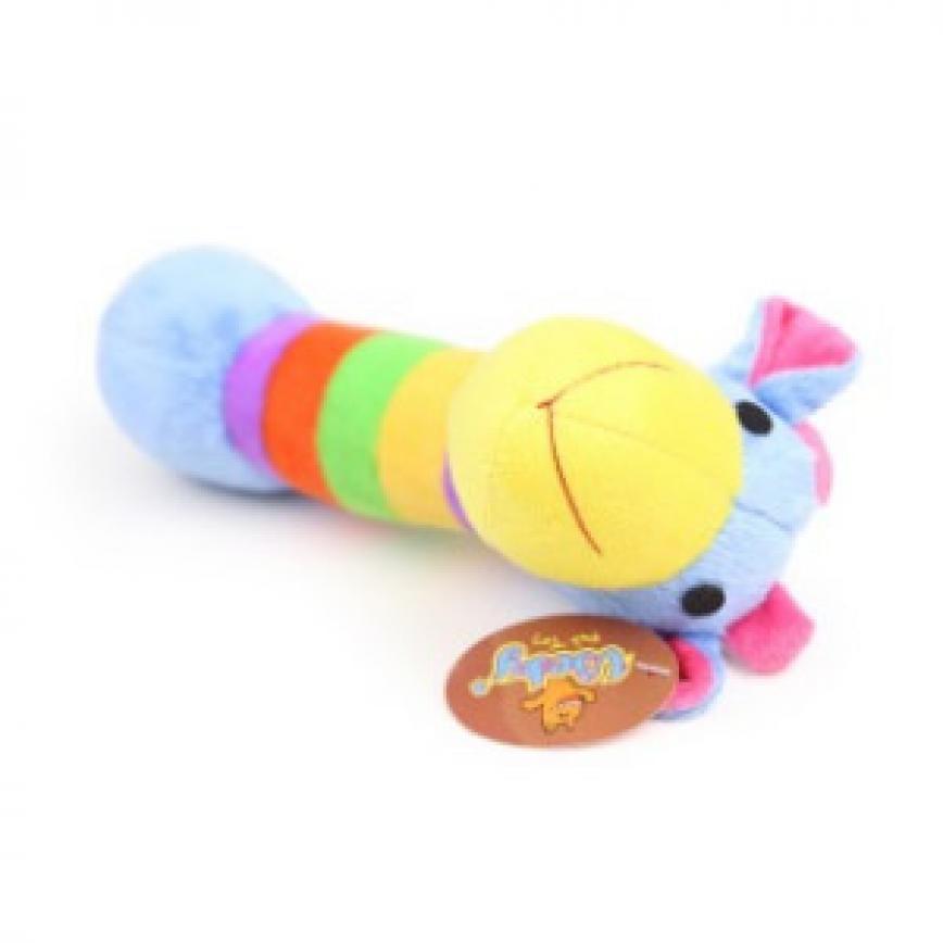 Vicky 毛絨益智發聲潔齒狗狗訓練玩具 彩藍色紋馬